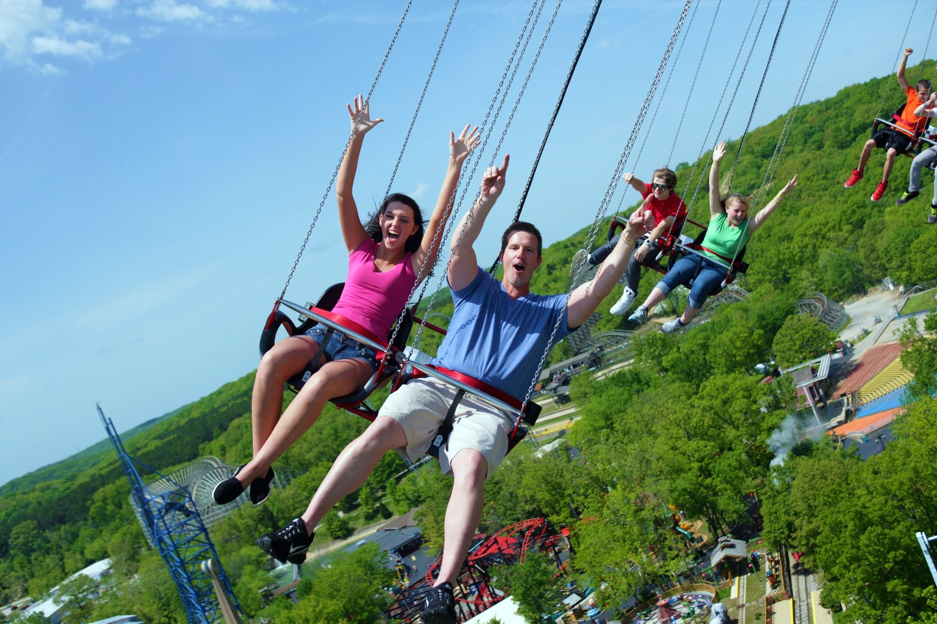 Guests on SkyScreamer at Six Flags