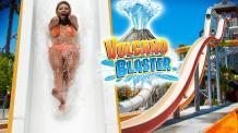 Woman on Volcano Blaster water slide