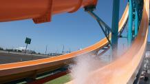 Rider splashes down on the Der Skuka slide