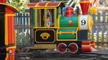 Little girl in engine car