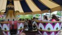 Guest spinning on Tea Cups at Six Flags New England