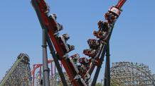 flyby moment on new Harley Quinn Crazy Coaster