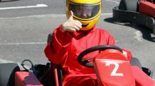 Fully outfitted go kart driver