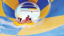 Raft in funnel water slide