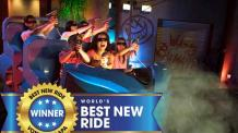 JUSTICE LEAGUE: Battle for Metropolis ride with USA Today Winner Banner