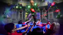 Lex Luthor gets shot with lasers by guests riding the Justice League Battle for Metropolis ride
