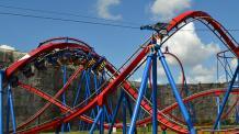 Screamin' Eagle Zipline flying over Superman Krypton Coaster