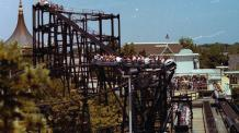 Wide shot of Whizzers lift hill when the ride opened