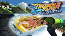 Guests riding in a yellow raft on Thunder Rapids