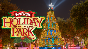 Holiday in the Park tree with Holiday in the Park logo