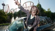Zombie goes to attach at Six Flags Fright Fest