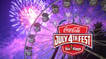 Fireworks behind Giant Wheel at Six Flags Great Escape during Coca-Cola July 4th Fest