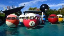 Billiard ball ride vehicles spinning