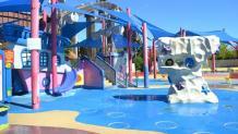 View of the colorful Splish Splash Zone