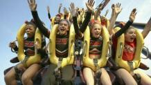 cheerleaders on a roller coaster