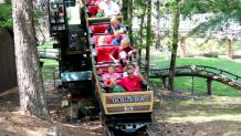 Guests riding Dahlonega Mine Train