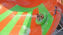 A large water slide at Six Flags Hurricane Harbor in Arlington Texas