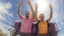 Guests front seat on a roller coaster