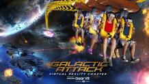 Riders wearing virtual reality headsets aboard a coaster