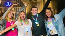 Teens at Grad Nite with light up lanyards