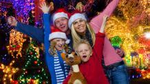 Family in holiday attire