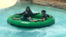 Teens in a water raft