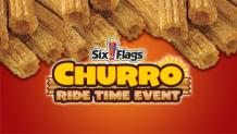 yummy churros with six flags and churro ride time event written on them