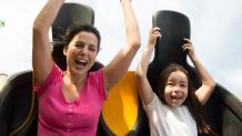 Mom and daughter riding Pandemonium