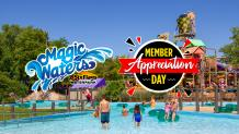 Magic Waters and Member Appreciation Day logos positioned on an image of tiki island