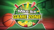 Basketball and fruit slices with pieces of Mike and Ike candy shooting out of the words Mike and Ike Game Zone