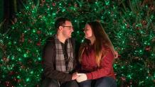 Couple sharing a sweet holiday moment