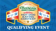 Nathans Logo and Hot Dog Eating Contest written on a gold belt with the words Qualigying Event under neat