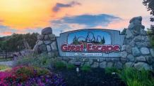 Great Escape sign at sunset