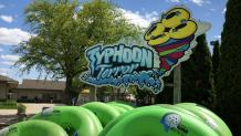 Typhoon terror sign with tubes in front of it