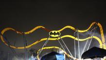 Batman: The Ride at night