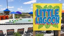 Little Lagoon gate sign with Little Lagoon sprinklers in the background
