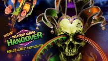 Mardi Gras Hangover Logo with skull and loop coaster