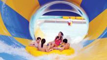 Raft in funnel water slide