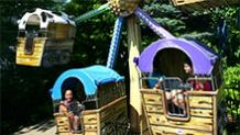 Happy guests on Wacky Wagons at Six Flags New England