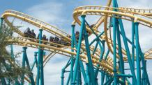 Poltergeist Roller Coaster vehicle winding through coaster track