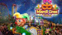 Mardi Gras float and logo