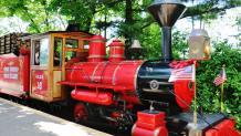 Bright red train Engine on Scenic Railway