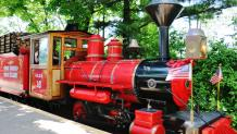 Bright red train Engine on Scenic Railway