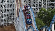 Guests riding the Great American Scream Machine