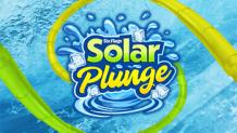 Solar Plunge logo with ice cubes and slides going into water