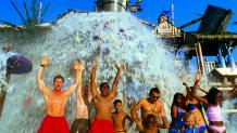 Visitors getting soaked at Splashwater Falls