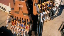 Giant Drop car loaded with riders at the top