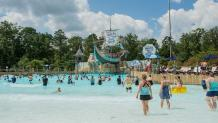 Guests in a Hurricane Harbor pool