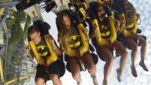Riders in BATMAN shirts on BATMAN The Ride