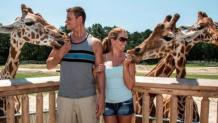 Couple feeding giraffe at Camp Aventura, the halfway point of Safari Off Road Adventure